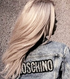 Moschino, blonde hair and denim jacket