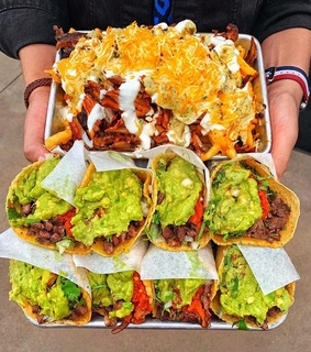fries, taco and delicious