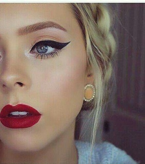 make up, red lips and cat eyes