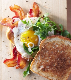 bacon, egg and food