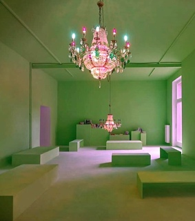 art, chandelier and green