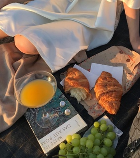 books, croissant and dreamy
