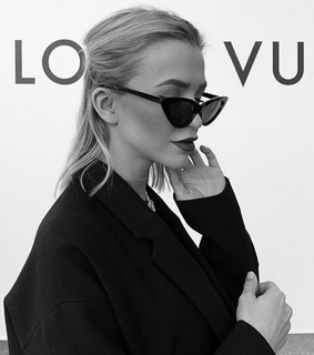 Louis Vuitton, black and white and brunette hair