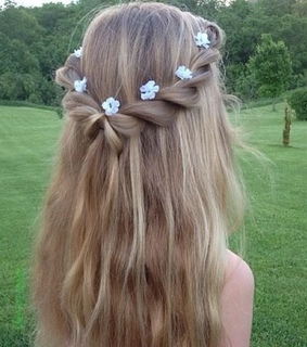 braid, cute and flowers