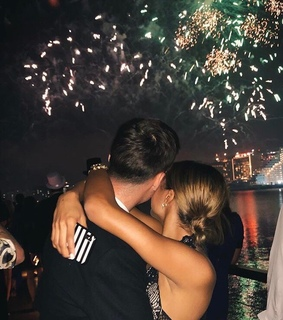 date, fireworks and couple