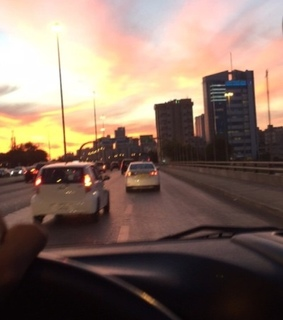 sky, view and car
