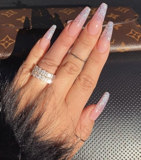 white nails, sparkly and sparkly nails