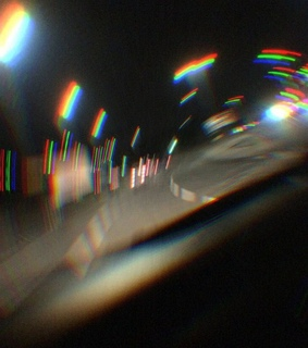 road, night and car