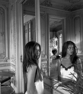 black&white, girl and mirror