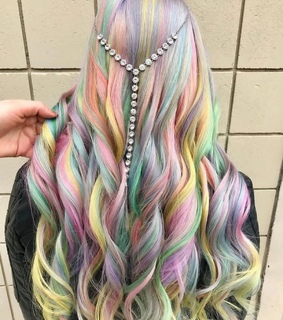 cheveux, multicolor and blue