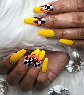 yellow, coffin nails and nails