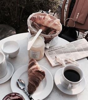 black coffee, bread and coffee