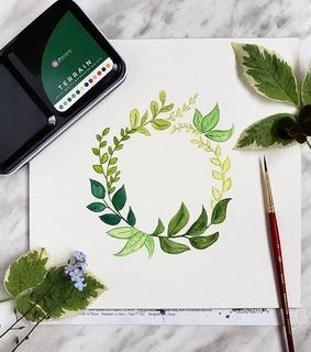 watercolor, painting and wreath