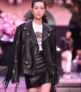 Versace, leather and liu wen