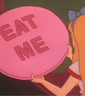 alice in wonderland, alice and eat me