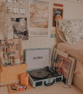 vintage, cozy and record player