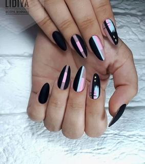 beauty, black nails and colours