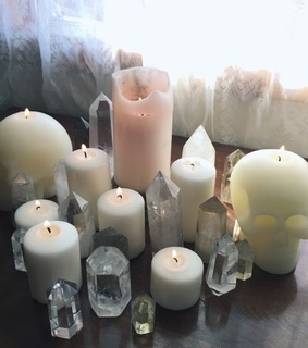 candle, fire and crystal