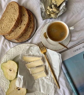 bread, cheese and coffee