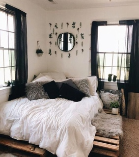 bed, bedroom and boho