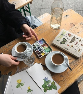art, book and coffee