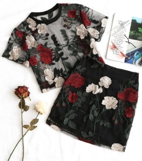 black, fashion and flowers