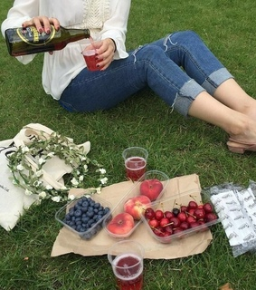 picnic, berries and healthy