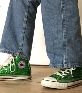 sneakers, fashion and sequin