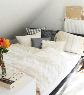 bed, bedroom and cushions