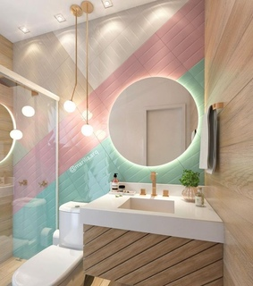 bath, colorful and home