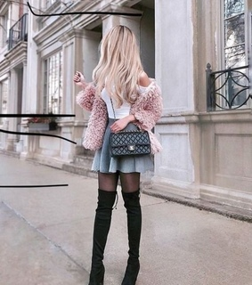 purse, knee highs and pink