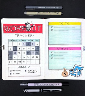 bujo, bullet journal and exercise