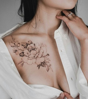 black and white, chest and flower