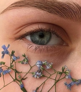 girl, eyes and flowers
