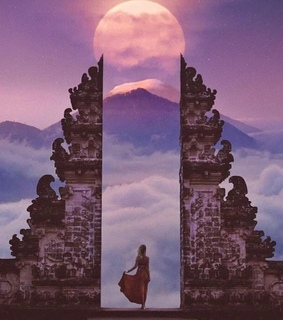 dreamy, gate and full moon