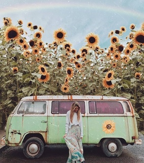 girl, hippies and old vw van