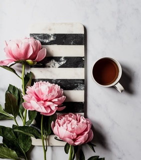 coffee time, flowers and cup of coffee