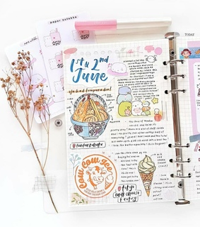 bullet journal, college and flower