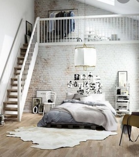 bed, home and room