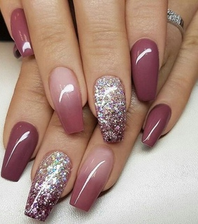 belleza, nails glitter and nails ombre
