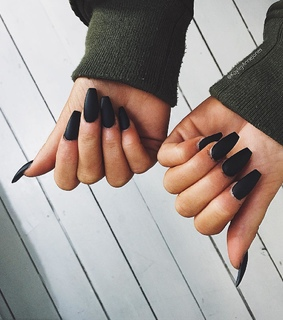 black nails, girl and green
