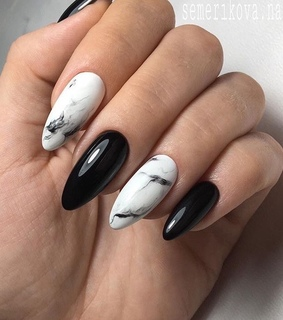 nails, marble and black