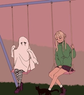 aesthetic, ghost and ghots friend