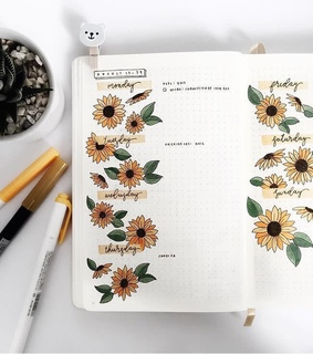 sunflower, journal and draw