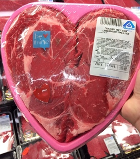 meat, romance and heart shaped