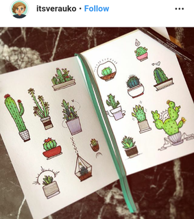 bullet journal, cactus doodle and bujo theme