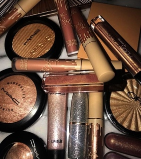 cosmetics, shimmer and lipstick