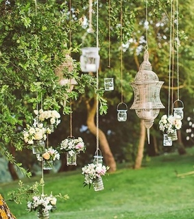 pretty, flowers and lantern