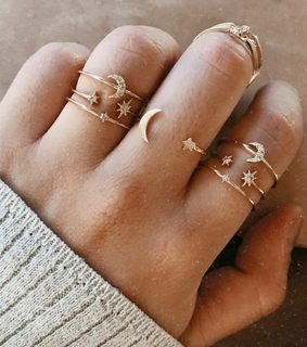 fashion, rings and moon