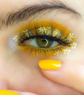 make up, green eyes and flowers